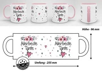 PR Print Royal Geschenk-Set aus Tasse und Kissen mit Füllung - Allerbeste Tante - Persönliche Geschenkidee für Beste Freunde, Verwandte und Familie - weiß/rosa - 6