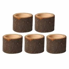 PRETYZOOM 5 Stück Holz Kerzenhalter Dekorativer Teelichthalter Baumstumpf Kerzenständer Vintage Serviettenringe Rustikale Tischdeko Sukkulenten Blumentopf für Valentinstag Hochzeit Landhaus Ornament - 1