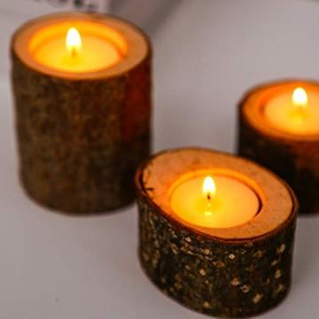 PRETYZOOM 5 Stück Holz Kerzenhalter Dekorativer Teelichthalter Baumstumpf Kerzenständer Vintage Serviettenringe Rustikale Tischdeko Sukkulenten Blumentopf für Valentinstag Hochzeit Landhaus Ornament - 5