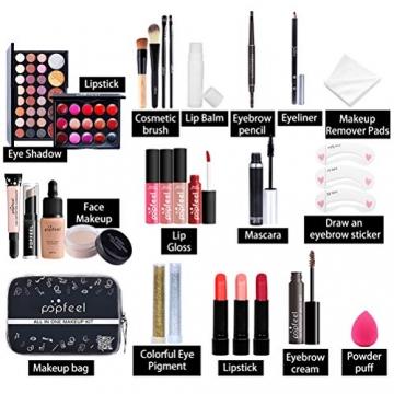 Qhome Alles in Einem Make-Up-Set 27 Stück Professionelles Make-Up-Set Tragbares Reisekosmetik-Set für Mädchen Frauen (Lidschatten-Textmarker Lippenstift Rougepinsel Usw) - 2