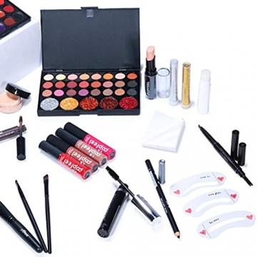 Qhome Alles in Einem Make-Up-Set 27 Stück Professionelles Make-Up-Set Tragbares Reisekosmetik-Set für Mädchen Frauen (Lidschatten-Textmarker Lippenstift Rougepinsel Usw) - 3