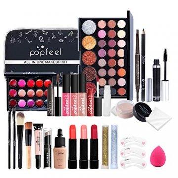 Qhome Alles in Einem Make-Up-Set 27 Stück Professionelles Make-Up-Set Tragbares Reisekosmetik-Set für Mädchen Frauen (Lidschatten-Textmarker Lippenstift Rougepinsel Usw) - 1