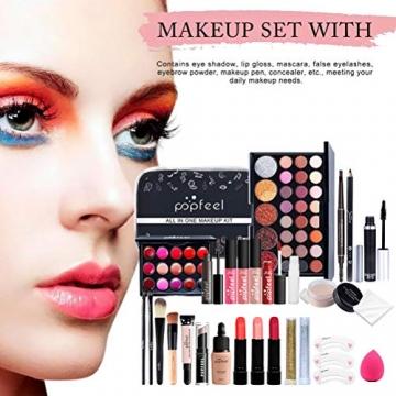 Qhome Alles in Einem Make-Up-Set 27 Stück Professionelles Make-Up-Set Tragbares Reisekosmetik-Set für Mädchen Frauen (Lidschatten-Textmarker Lippenstift Rougepinsel Usw) - 7