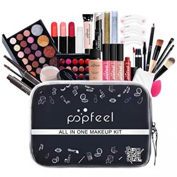 Qhome Alles in Einem Make-Up-Set 27 Stück Professionelles Make-Up-Set Tragbares Reisekosmetik-Set für Mädchen Frauen (Lidschatten-Textmarker Lippenstift Rougepinsel Usw) - 8