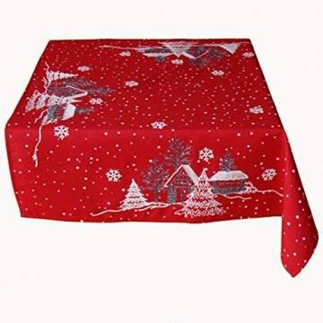Raebel OHG Tischdece Stickerei Winterdorf Tanne Weihnachten weiß Deko Weihnachtstischdecke (rot-weiß, 85 x 85 cm) - 1