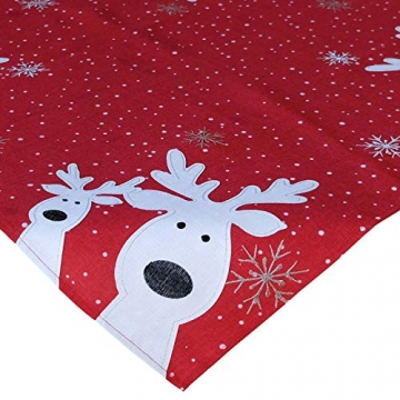 Raebel Tischdecke 85 x 85 cm Stickerei lustiger Elch rot-bunt Weihnachten Weihnachtsdeko Weihnachtstischdecke Mitteldecke Tischdeko Tischdecke - 2
