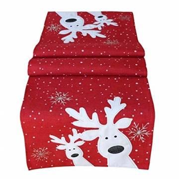 Raebel Tischdecke 85 x 85 cm Stickerei lustiger Elch rot-bunt Weihnachten Weihnachtsdeko Weihnachtstischdecke Mitteldecke Tischdeko Tischdecke - 1