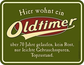 RAHMENLOS Original Blechschild zum 70. Geburtstag: Oldtimer, 70 Jahre gelaufen, Topzustand. - 1
