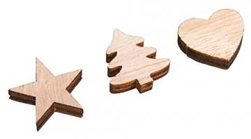 Rayher 46285000 Holz-Streuteile Herz, Baum, Stern, natur, Stärke 4 mm, Holzstreuteile, Tischstreuer, Tischdeko, Streudeko Weihnachten, Btl. 36 Stück, 1, 7cm ø, natur - 2