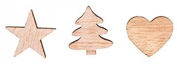 Rayher 46285000 Holz-Streuteile Herz, Baum, Stern, natur, Stärke 4 mm, Holzstreuteile, Tischstreuer, Tischdeko, Streudeko Weihnachten, Btl. 36 Stück, 1, 7cm ø, natur - 1