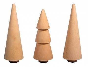 Rayher 46541505 Holz Bäume, 2.9cm, natur, sortiert 7.8-8.5cm Höhe, Box 3Stück, Normal - 1