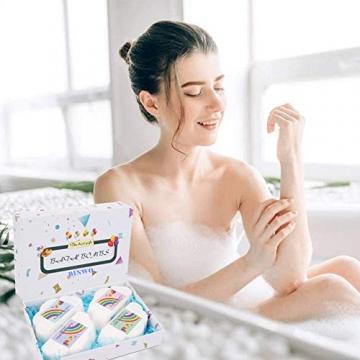 Regenbogen Badebomben Geschenkset (4 Packungen), 4Unzen Regenbogen Badewannenbomben, Geschenk für Kinder Frauen - 3