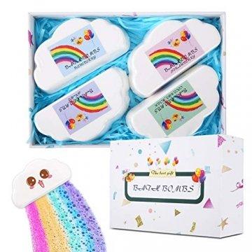Regenbogen Badebomben Geschenkset (4 Packungen), 4Unzen Regenbogen Badewannenbomben, Geschenk für Kinder Frauen - 1
