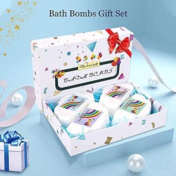 Regenbogen Badebomben Geschenkset (4 Packungen), 4Unzen Regenbogen Badewannenbomben, Geschenk für Kinder Frauen - 7