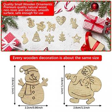 RMENOOR 200 Stücke Weihnachtsbaum Anhänger Holzscheiben Christbaumanhänger Holz Streudeko Baumschmuck Christbaumschmuck Weihnachtsdeko zum Aufhängen (Stil gemischt) - 2