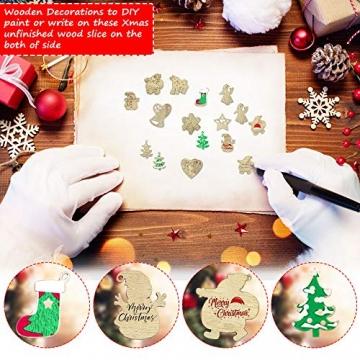 RMENOOR 200 Stücke Weihnachtsbaum Anhänger Holzscheiben Christbaumanhänger Holz Streudeko Baumschmuck Christbaumschmuck Weihnachtsdeko zum Aufhängen (Stil gemischt) - 4