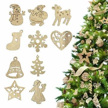 RMENOOR 200 Stücke Weihnachtsbaum Anhänger Holzscheiben Christbaumanhänger Holz Streudeko Baumschmuck Christbaumschmuck Weihnachtsdeko zum Aufhängen (Stil gemischt) - 1