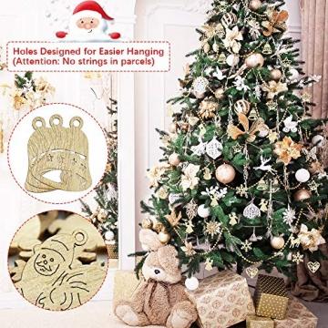 RMENOOR 200 Stücke Weihnachtsbaum Anhänger Holzscheiben Christbaumanhänger Holz Streudeko Baumschmuck Christbaumschmuck Weihnachtsdeko zum Aufhängen (Stil gemischt) - 5