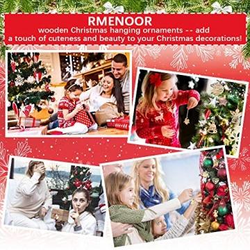 RMENOOR 200 Stücke Weihnachtsbaum Anhänger Holzscheiben Christbaumanhänger Holz Streudeko Baumschmuck Christbaumschmuck Weihnachtsdeko zum Aufhängen (Stil gemischt) - 7