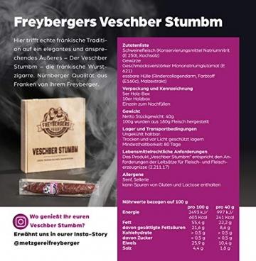Salami Wurstzigarre in edler Geschenk-Box als lustiges Geschenk für Männer Freybergers® Veschber Stumbm für Fleisch-Geschenkideen   Mini Wurstsnack aus regionalem Fleisch (1x Box) - 3