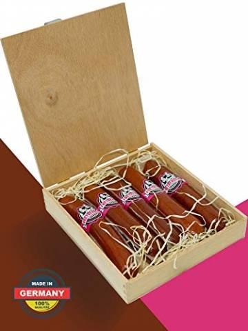 Salami Wurstzigarre in edler Geschenk-Box als lustiges Geschenk für Männer Freybergers® Veschber Stumbm für Fleisch-Geschenkideen   Mini Wurstsnack aus regionalem Fleisch (1x Box) - 1