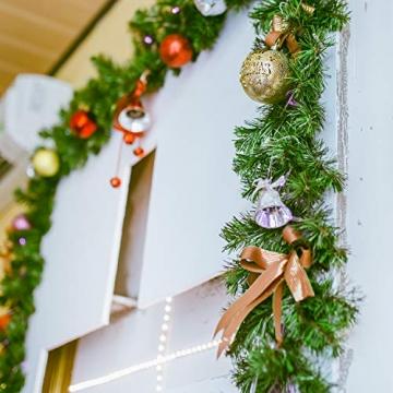 SALCAR Künstliche Weihnachtsgirlande Tannengirlande 3m, Tannengirlande Tannenzweiggirlande Weihnachtsdeko,außen & innen - 5