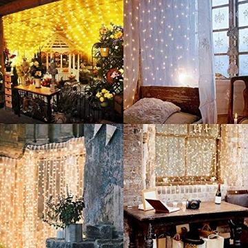 SALCAR LED Lichtervorhang 3x3m IP44 Vorhang Lichterkette, Lichtervorhang für Weihnachten, Partydekoration, Innenbeleuchtung, 8 Lichtprogramme - warmweiß - 2