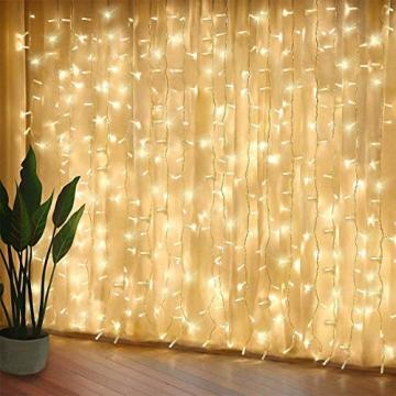 SALCAR LED Lichtervorhang 3x3m IP44 Vorhang Lichterkette, Lichtervorhang für Weihnachten, Partydekoration, Innenbeleuchtung, 8 Lichtprogramme - warmweiß - 3
