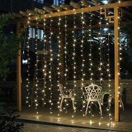 SALCAR LED Lichtervorhang 3x3m IP44 Vorhang Lichterkette, Lichtervorhang für Weihnachten, Partydekoration, Innenbeleuchtung, 8 Lichtprogramme - warmweiß - 1
