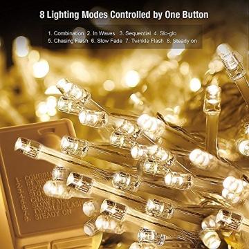 SALCAR LED Lichtervorhang 3x3m IP44 Vorhang Lichterkette, Lichtervorhang für Weihnachten, Partydekoration, Innenbeleuchtung, 8 Lichtprogramme - warmweiß - 5