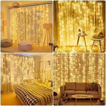 SALCAR LED Lichtervorhang 3x3m IP44 Vorhang Lichterkette, Lichtervorhang für Weihnachten, Partydekoration, Innenbeleuchtung, 8 Lichtprogramme - warmweiß - 7