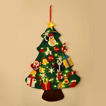 SALCAR PREMIUM Filz Weihnachtsbaum mit LED - Künstlicher Baum - 5m Kupfer Lichterkette - Keine störenden Tannennadeln - Geruchslos - Christbaum - batteriebetriebenes LED-Licht - 2