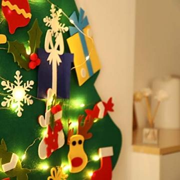 SALCAR PREMIUM Filz Weihnachtsbaum mit LED - Künstlicher Baum - 5m Kupfer Lichterkette - Keine störenden Tannennadeln - Geruchslos - Christbaum - batteriebetriebenes LED-Licht - 3