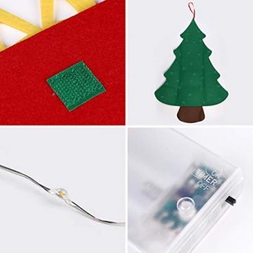 SALCAR PREMIUM Filz Weihnachtsbaum mit LED - Künstlicher Baum - 5m Kupfer Lichterkette - Keine störenden Tannennadeln - Geruchslos - Christbaum - batteriebetriebenes LED-Licht - 4