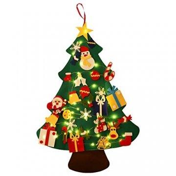 SALCAR PREMIUM Filz Weihnachtsbaum mit LED - Künstlicher Baum - 5m Kupfer Lichterkette - Keine störenden Tannennadeln - Geruchslos - Christbaum - batteriebetriebenes LED-Licht - 1