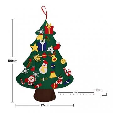 SALCAR PREMIUM Filz Weihnachtsbaum mit LED - Künstlicher Baum - 5m Kupfer Lichterkette - Keine störenden Tannennadeln - Geruchslos - Christbaum - batteriebetriebenes LED-Licht - 6