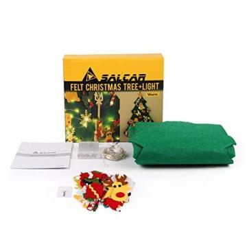 SALCAR PREMIUM Filz Weihnachtsbaum mit LED - Künstlicher Baum - 5m Kupfer Lichterkette - Keine störenden Tannennadeln - Geruchslos - Christbaum - batteriebetriebenes LED-Licht - 7