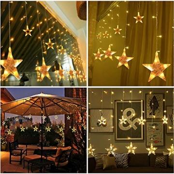 Salcar PREMIUM Lichterkette mit LED - Weihnachtslichterkette - Lichtvorhang mit 12 Sternen - Wasserdicht - Sternvorhang für innen und außen - mit Fernbedienung - warmweiß - 2m lang - 2