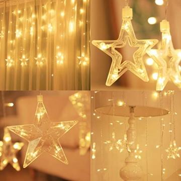 Salcar PREMIUM Lichterkette mit LED - Weihnachtslichterkette - Lichtvorhang mit 12 Sternen - Wasserdicht - Sternvorhang für innen und außen - mit Fernbedienung - warmweiß - 2m lang - 3