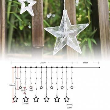 Salcar PREMIUM Lichterkette mit LED - Weihnachtslichterkette - Lichtvorhang mit 12 Sternen - Wasserdicht - Sternvorhang für innen und außen - mit Fernbedienung - warmweiß - 2m lang - 4