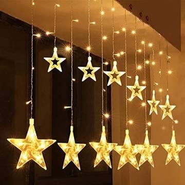 Salcar PREMIUM Lichterkette mit LED - Weihnachtslichterkette - Lichtvorhang mit 12 Sternen - Wasserdicht - Sternvorhang für innen und außen - mit Fernbedienung - warmweiß - 2m lang - 1