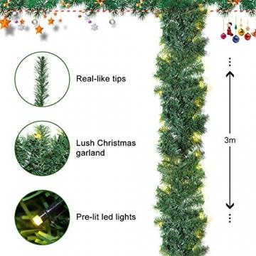 SALCAR PREMIUM Weihnachtsgirlande mit 100 LEDs - 3m - Tannengirlande mit Beleuchtung - 30V - Künstliche Girlande Weihnachtsdeko - Weihnachtsschmuck - Deko für Weihnachten, Treppen, Kamine - Grün - 2