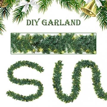 SALCAR PREMIUM Weihnachtsgirlande mit 100 LEDs - 3m - Tannengirlande mit Beleuchtung - 30V - Künstliche Girlande Weihnachtsdeko - Weihnachtsschmuck - Deko für Weihnachten, Treppen, Kamine - Grün - 4