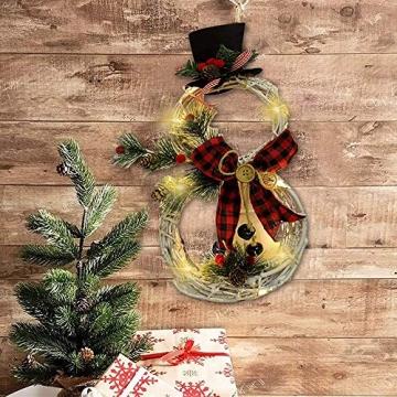 SCCS Weihnachtskranz Bogen Led Licht, Schneemann Tannengirlande Mit Lichterkette Girlande Weihnachten Fenster Weihnachtsgirlande Deko Balkon Türkranz Weihnachten Modern (Rot schwarz, 40 x 21 cm) - 3
