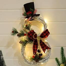 SCCS Weihnachtskranz Bogen Led Licht, Schneemann Tannengirlande Mit Lichterkette Girlande Weihnachten Fenster Weihnachtsgirlande Deko Balkon Türkranz Weihnachten Modern (Rot schwarz, 40 x 21 cm) - 1