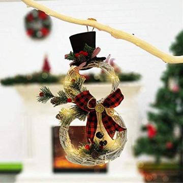 SCCS Weihnachtskranz Bogen Led Licht, Schneemann Tannengirlande Mit Lichterkette Girlande Weihnachten Fenster Weihnachtsgirlande Deko Balkon Türkranz Weihnachten Modern (Rot schwarz, 40 x 21 cm) - 4