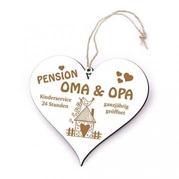 Schild Herz Spruch - Pension Oma & Opa ganzjährig geöffnet - Holzschild Türschild 13x12cm | Dekolando Home Accessoires - 2
