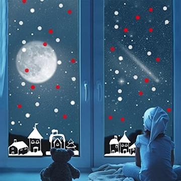 Schneeflocken Fensterdeko Weihnachten Aufkleber Schneeflocken Fensterbild Weihnachtsdeko Weihnachten Fensterdeko Set DIY Weihnachtsdeko Winter Dekoration für Türen Schaufenster PVC Fensterdeko Set - 2