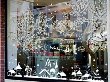 Schneeflocken Fensterdeko Weihnachten Aufkleber Schneeflocken Fensterbild Weihnachtsdeko Weihnachten Fensterdeko Set DIY Weihnachtsdeko Winter Dekoration für Türen Schaufenster PVC Fensterdeko Set - 3