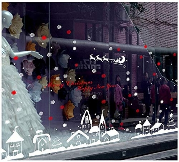 Schneeflocken Fensterdeko Weihnachten Aufkleber Schneeflocken Fensterbild Weihnachtsdeko Weihnachten Fensterdeko Set DIY Weihnachtsdeko Winter Dekoration für Türen Schaufenster PVC Fensterdeko Set - 4